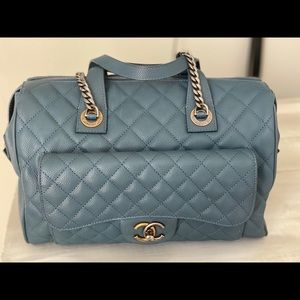 Chanel Two-Tone Bowling Bag Quilted Cavier Medium